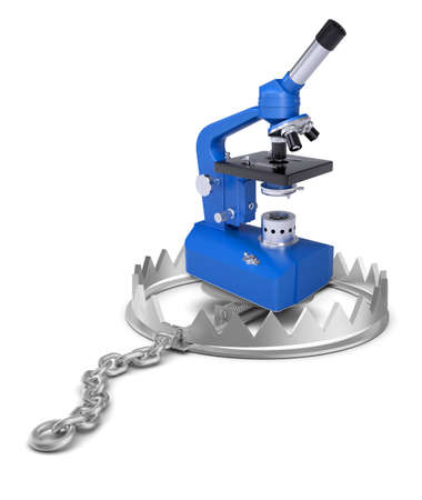 bear trap: Microscope in bear trap on isolated white background, close-up view
