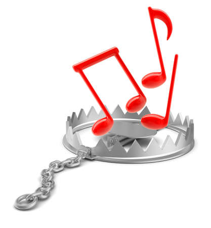 bear trap: Music notes in bear trap on isolated white background, close-up view
