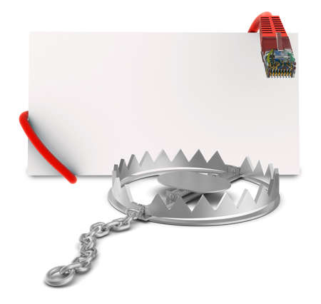 bear trap: Label with cable in bear trap on isolated white background, close-up view Stock Photo