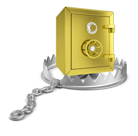bear trap: Safe box in bear trap on isolated white background, close-up view