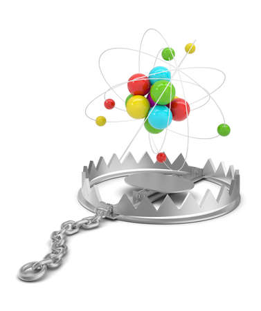 bear trap: Atom structure in bear trap on isolated white background, close-up view Stock Photo