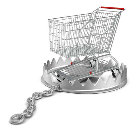 bear trap: Shopping cart in bear trap on isolated white background, close-up view