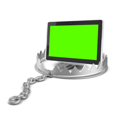 bear trap: Tablet in bear trap on isolated white background, close-up view