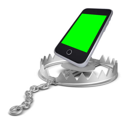 bear trap: Smartphone in bear trap on isolated white background, close-up view