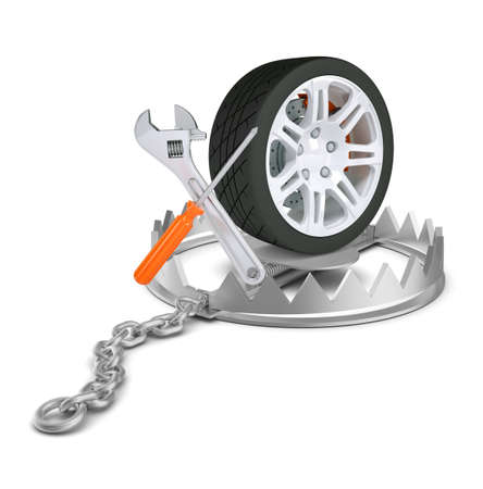 bear trap: Wheels service in bear trap on isolated white background, close-up view