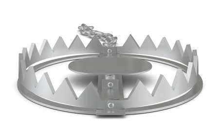 bear trap: Bear trap on isolated white background, front view