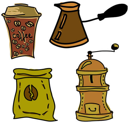 stuff: Drawn colored picture with coffee stuff on white background. Vector illustration Illustration
