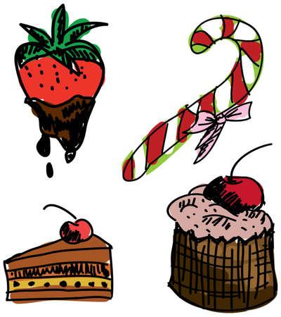 甘い食べ物: 白い背景色の甘い食べ物を描画します。ベクトル図