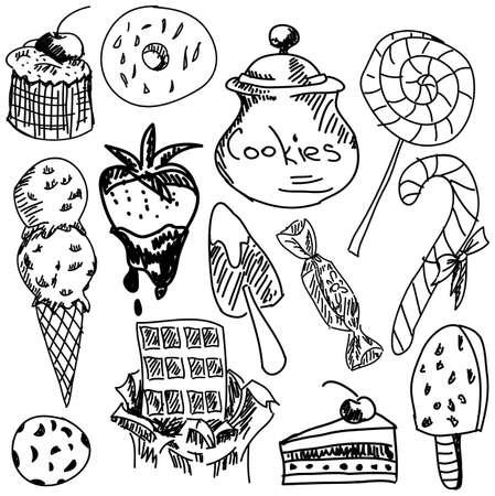 甘い食べ物: 白い背景に、クローズ アップ ビューで甘い食べ物を描画します。ベクトル図