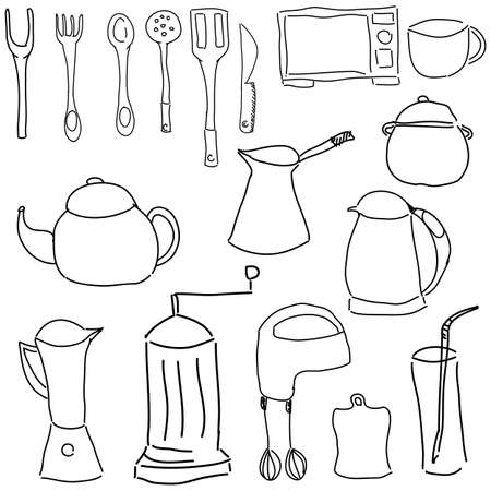 stuffs: Drawn picture with kitchen stuff on white background, close-up view. Vector illustration