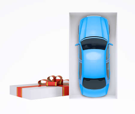 giftware: Car in gift box with ribbon on isolated white background Stock Photo