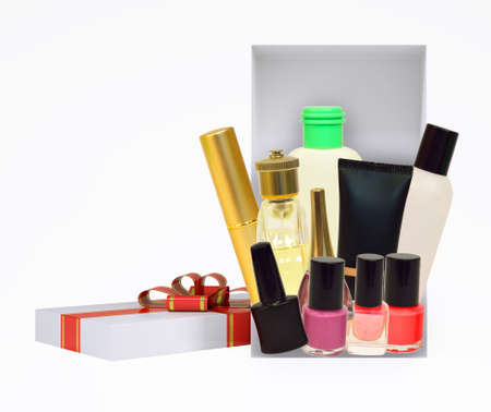 giftware: Gift box with ribbon and cosmetics on isolated white background Stock Photo