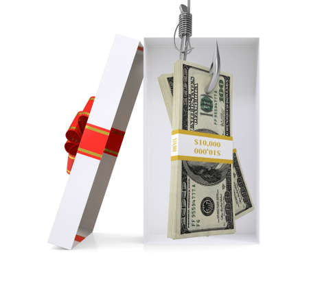 giftware: Bundle of money in gift box with ribbon on isolated white background Stock Photo