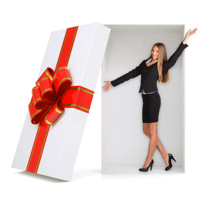 giftware: Happy businesswoman in gift box with ribbon on isolated white background