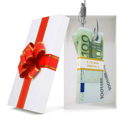 giftware: Euro in gift box with ribbon on isolated white background Stock Photo