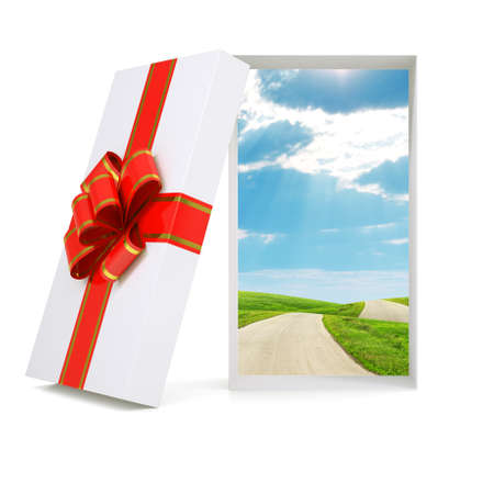 gold gift box: Landscape in gift box with ribbon on isolated white background Stock Photo