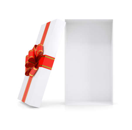 gold gift box: Empty gift box with ribbon on isolated white background
