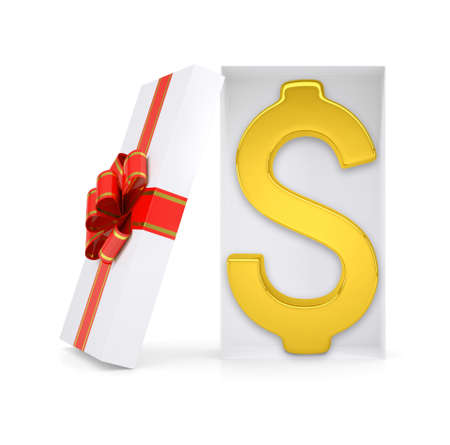 giftware: Dollar symbol in gift box with ribbon on isolated white background