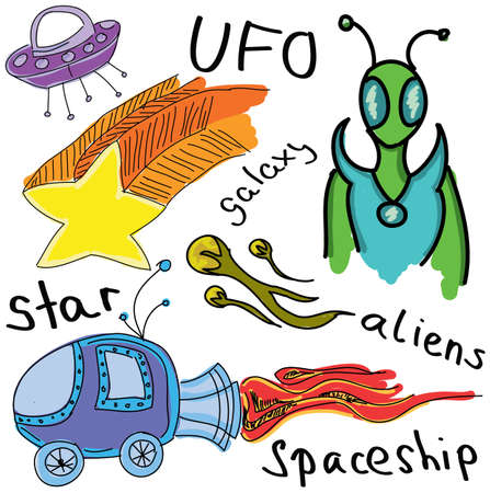 newcomer: Drawn colored alien with spaceship. Vector illustration