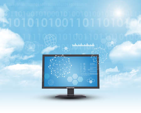 graphical: Monitor in cloud sky with numbers and graphical charts Stock Photo