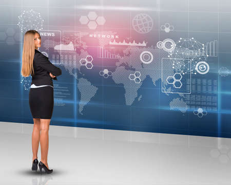 businesslady: Businesslady looking at camera on abstract background, rear view