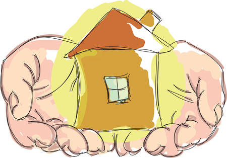 hands holding house: Drawn hands holding small house. Vector illustration