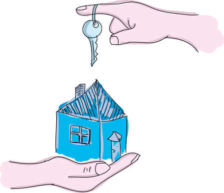 hands holding house: Drawn hands holding house with key. Vector illustration