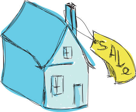 for sale: Drawn colored blue house for sale. Vector illustration Illustration