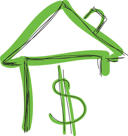family in front of house: Drawn colored green house with dollar sign. Vector illustration