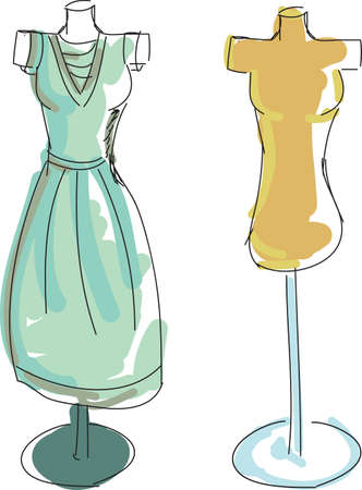 dress form: Drawn colored dress form and dress. Vector illustrator