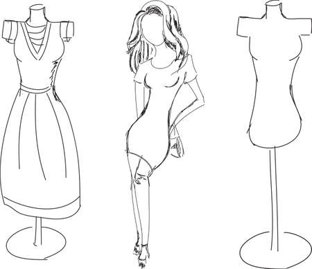 dress form: Drawn fashion girl with dress form on white. Vector illustration Illustration