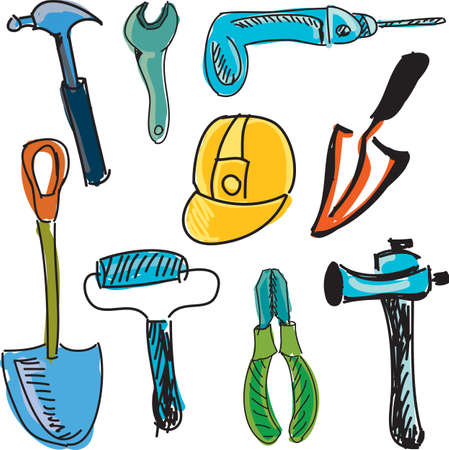 screw key: Drawn colored building tools on white. Vector illustration