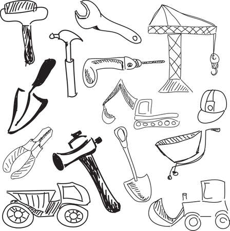 screw key: Drawn building tools on white. Vector illustration