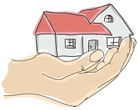 family in front of house: Drawn colored humans hand holding house. Vector illustration Illustration