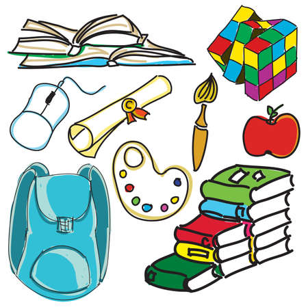 colored school: Drawn colored school bag with books, brush and toy. Vector illustration Illustration