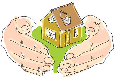 family in front of house: Drawn colored humans hands holding house. Vector illustration