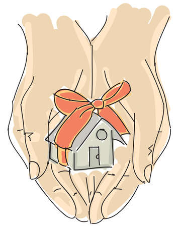 hand holding house: Drawn colored humans hand holding house with ribbon. Vector illustration