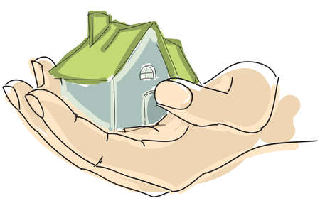 family in front of house: Drawn colored humans hand holding house with green roof. Vector illustration Illustration