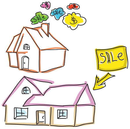 family in front of house: Drawn colored houses for sale with dollar sign. Vector illustration Illustration