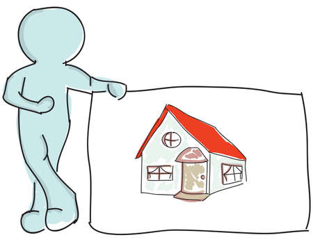 coziness: Drawn puppet standing near house. Vector illustration