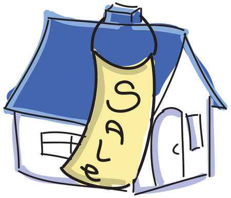 house for sale: Drawn colored house with blue roof for sale. Vector illustration