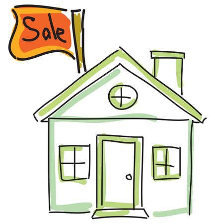 satılık: Drawn green house for sale. Vector illustration