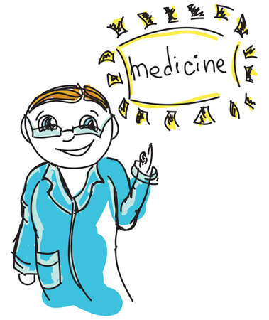 word medicine: Drawn colored doctor with word medicine. Vector illustration