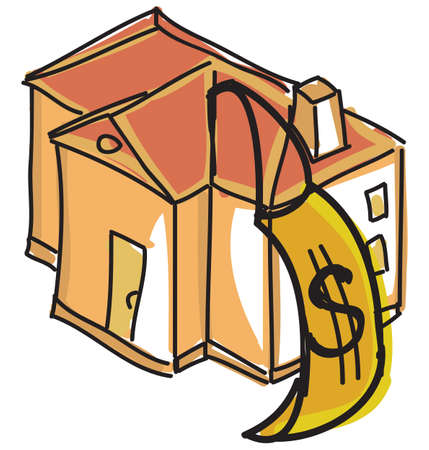family in front of house: Drawn red house with dollar sign. Vector illustration