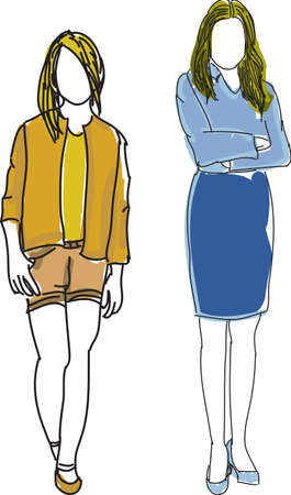 crossed arms: Drawn colored young women with crossed arms. Vector illustration Illustration