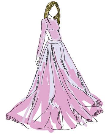 pink dress: Drawn woman in pink dress. Vector illustration Illustration