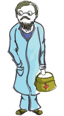 medicine box: Drawn colored doctor with medicine box . Vector illustration Illustration
