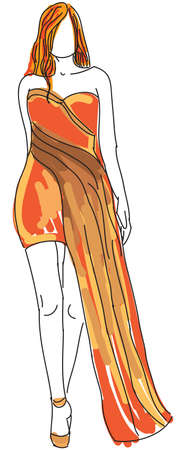 evening dress: Drawn woman in orange evening dress. Vector illustration