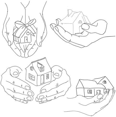 family in front of house: Drawn humans hands holding house. Vector illustration