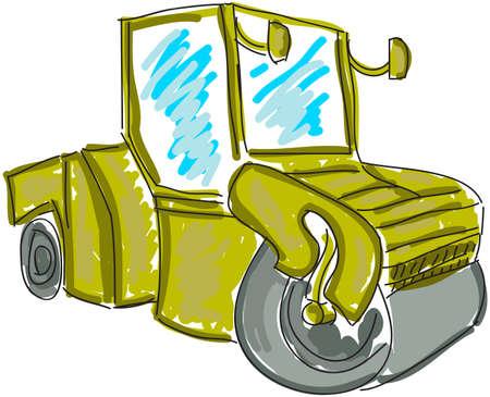 mirrow: Drawn asphalt spreader on white. Vector illustration Illustration